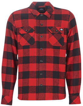 Dickies SACRAMENTO men's Long sleeved Shirt in Red