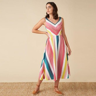 Emily And Fin Margot Midi Dress In Summer Stripe - 8