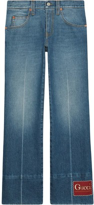 Gucci Kick-Flare Logo-Patch Jeans