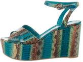 Sergio Rossi Snakeskin Wedge Sandals