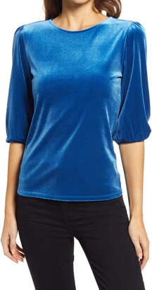 Halogen Velour Bubble Sleeve Top