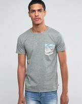 Esprit Crew Neck T-Shirt with Mountain Printed Pocket