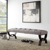Inspire Q Wellington Grey Linen Arched Base Bench by
