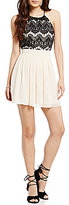 B. Darlin Lace Bodice High Neck Color Block Dress