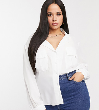 ASOS DESIGN Curve long sleeve soft shirt with utility pocket in ivory