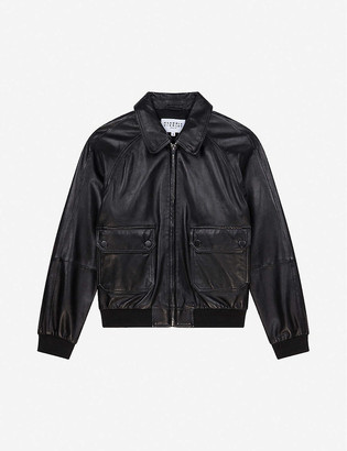 Claudie Pierlot Elasticated-trim leather jacket