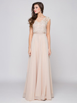 Glow by Colors - G318 Cap Sleeve Lace V-Neck Gown