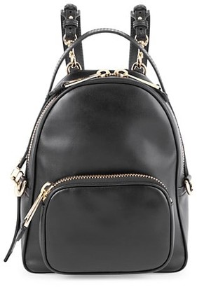 Moschino Logo Chain Leather Backpack