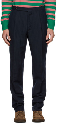 Drakes Navy Wool and Linen Chevron Trousers