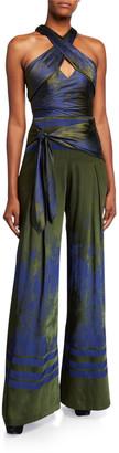 Flor Et. Al Flor Et.Al Gabriel Forest Jacquard Cross-Front Wide-Leg Jumpsuit