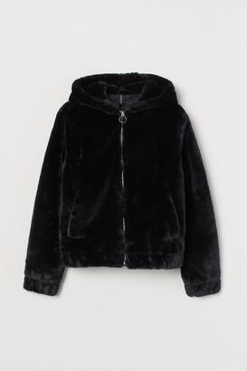 H&M Hooded Faux Fur Jacket - Black