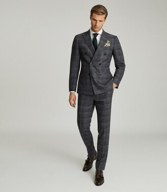 Reiss Dream - Double Breasted Check Blazer in Navy