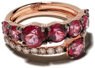 Brumani 18kt rose gold Manaca diamond and topaz ring