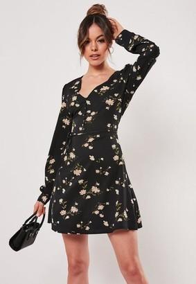 Missguided Black Floral V Neck Skater Dress