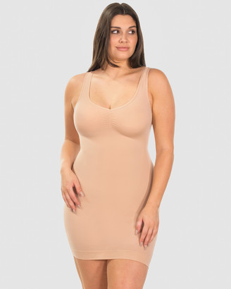 B Free Intimate Apparel - Women's Shapewear - Curvy Ultra Light Shaping V-Tank Slip - Size One Size, M/L at The Iconic