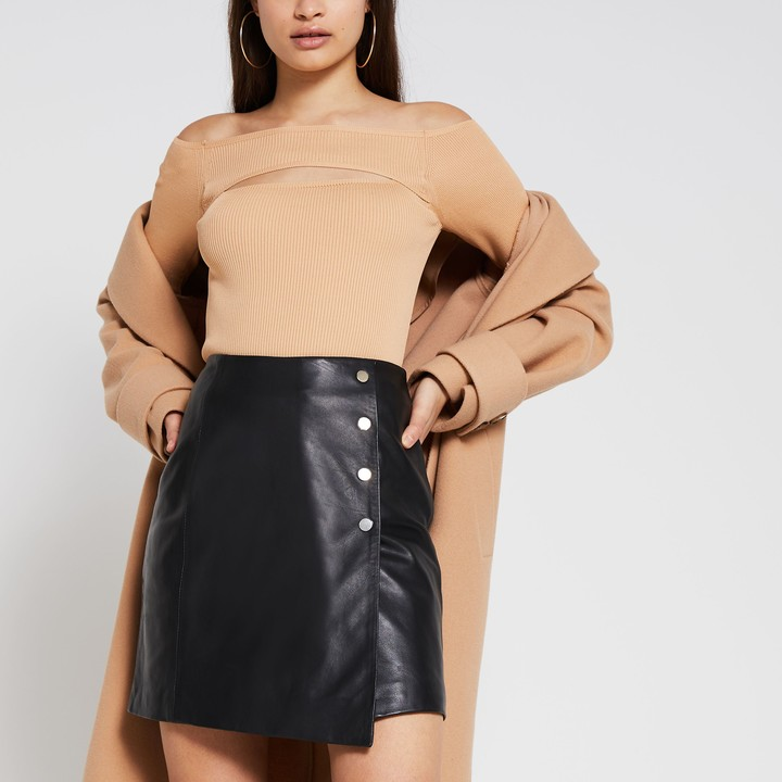 River Island Womens Black leather a line skirt