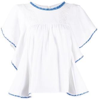 Etoile Isabel Marant Ruffled Short Sleeve Top