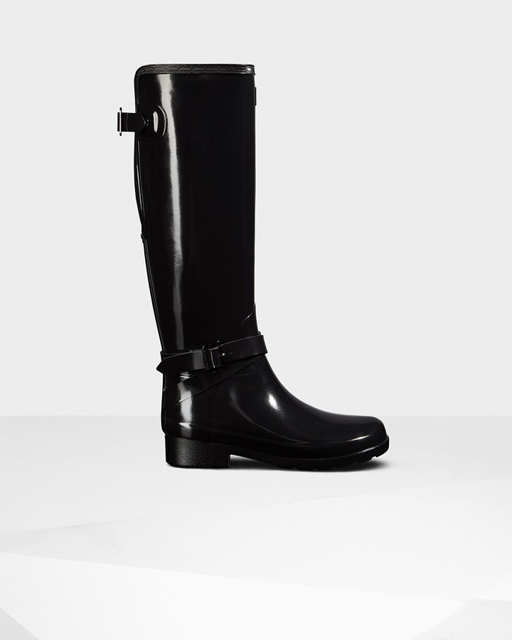 Hunter Women's Refined Adjustable Tall Gloss Wellington Boots