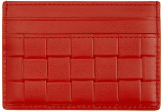 Bottega Veneta Red Printed Grid Classic Card Holder