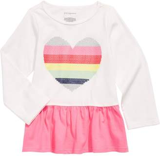 First Impressions Baby Girl's Rainbow Heart Cotton Peplum Tee