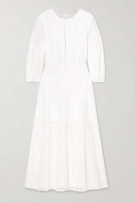 Les Rêveries Open-back Broderie Anglaise Cotton Midi Dress - White