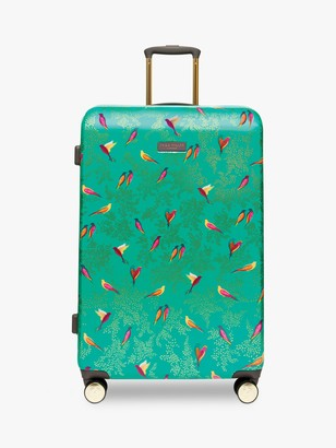 Sara Miller Green Birds 77cm 4-Wheel Large Suitcase, Green