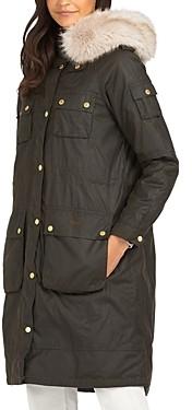 Barbour Stopes Faux Fur Trim Waxed Cotton Jacket