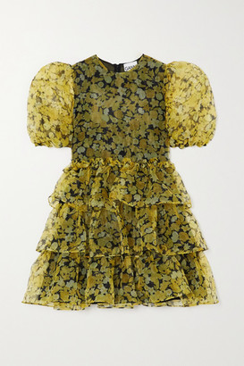 Ganni Ruffled Tiered Floral-print Organza Mini Dress - Yellow