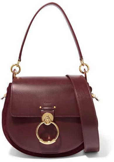 Chloé Tess Leather And Suede Shoulder Bag - Burgundy