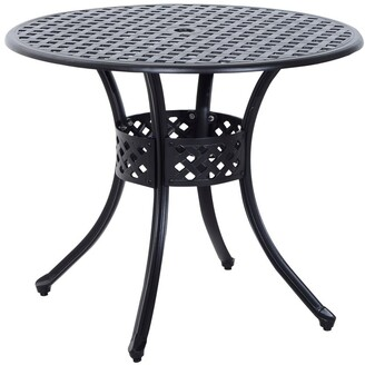 Aosom Outsunny Round Cast Aluminum Outdoor Dining Table - Black