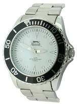 Slazenger Men's Quartz Watch with White Dial Analogue Display and Silver Bracelet SLZ210/A
