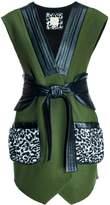 Leka Leopard Pockets Leather & Wool Vest