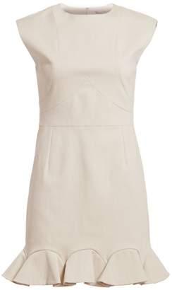 Halston Cap Sleeve Flounce Hem Dress