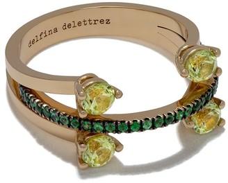 Delfina Delettrez 18kt yellow gold Linked Dots 18kt yellow gold peridot and tsavorite ring