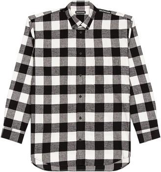 Balenciaga Long Sleeve Tab Shirt in Black & White | FWRD