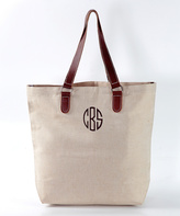 CB Station Jute & Leather Monogram Tote