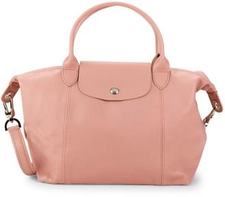Longchamp Medium Le Pliage Leather Top Handle Bag