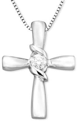 Sirena Diamond Cross Pendant in 14k Yellow or White Gold (1/10 ct. t.w.)