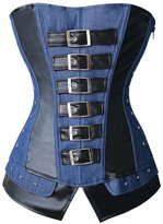 Kranchungel Women's Gothic Faux Leather and Denim Jean Overbust Corset Bustier Large Black