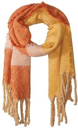 Steve Madden Ultra Soft Color Block Blanket Wrap (Mustard) Scarves