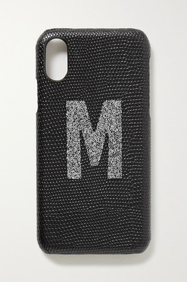 The Case Factory - Alphabet Swarovski Crystal-embellished Lizard-effect Leather Iphone X And Xs Case - Black