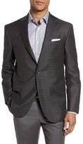 David Donahue Men's Connor Classic Fit Plaid Wool Sport Coat