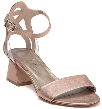 AGL Metallic Leather Block Heel Sandal