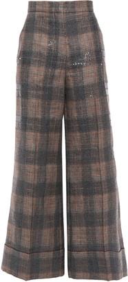 Brunello Cucinelli Sequin-embellished Checked Linen-blend Wide-leg Pants
