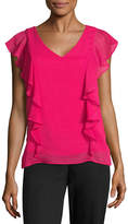 BY AND BY by&by Sleeveless V Neck Chiffon Blouse-Juniors