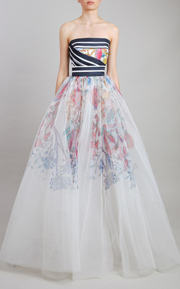 Elie Saab Printed Mikado And Tulle Gown
