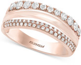 Effy Pavé Rose by Double Row Ring (5/8 ct. t.w.) in 14k Rose Gold
