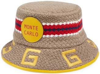 Gucci Monte Carlo striped fabric fedora