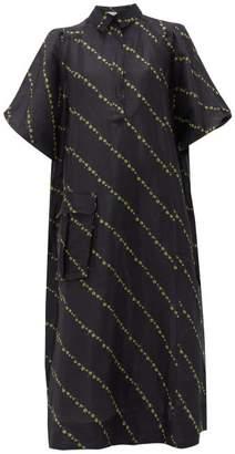 Ganni Mini Floral-print Side-slit Linen-blend Dress - Womens - Black Multi