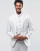Gianni Feraud Premium 55% Linen Suit Jacket In Pale Steel Grey